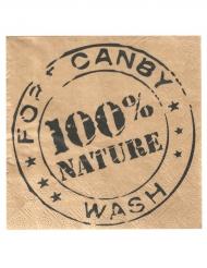 20 Serviettes en papier 100% Nature kraft 33 x 33 cm