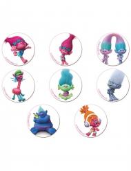 18 Mini disques en sucre Trolls™ 3,4 cm