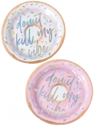 8 Assiettes en carton Donut Kill My Vibe iridescent 25 cm