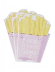 16 Petites serviettes en papier Fries Before Guys rose et jaune 16 x 11 cm