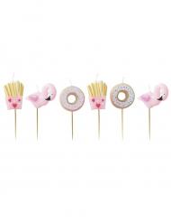 6 Bougies donuts, frites et flamants roses 4 cm