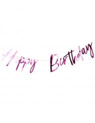 Guirlande en lettres Happy Birthday fuchsia métallisé 2 m