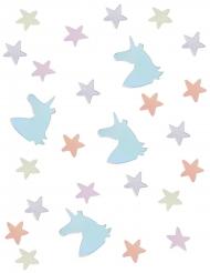 Confettis de table Licorne et Etoiles pastel iridescent 14 g