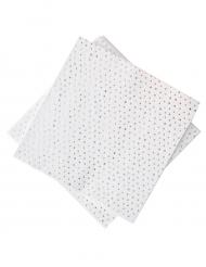 16 Petites serviettes en papier pois rose gold métallisé 25 x 25 cm