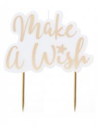 Bougie sur pique Make a Wish doré métallisé 8 x 11 cm