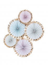 5 Rosaces à suspendre Pastel et doré métallisé 38 cm et 28 cm