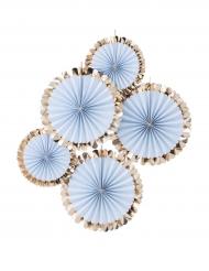 5 Rosaces à suspendre bleu et doré métallisé 38 cm et 28 cm