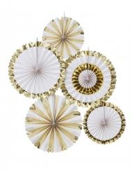 5 Rosaces à suspendre blanc et doré métallisé 38 cm et 28 cm