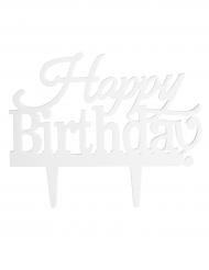Décoration pour gâteau sur pique à personnaliser Happy Birthday 15,5 x 9,2 cm