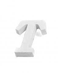 Petite lettre T en bois blanc 5 cm