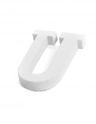 Petite lettre U en bois blanc 5 cm