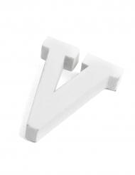 Petite lettre V en bois blanc 5 cm