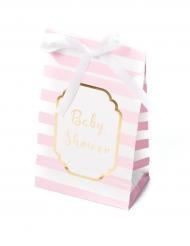 10 Pochettes cadeaux Baby Shower rose et or 12,5 x 7,5 cm