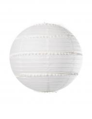 Lanterne avec pompons blanc 35 cm