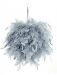 Boule à suspendre plumettes grises 40 cm