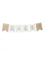 Guirlande en fanions Baby Shower ciel et or 3,5 m