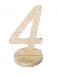 Centre de table chiffre 4 bois pailleté champagne 20 cm