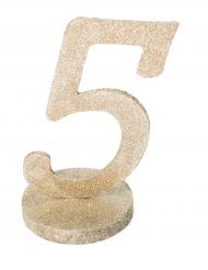 Centre de table chiffre 5 bois pailleté champagne 20 cm