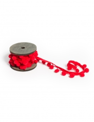 Ruban pompons rouges 2,2 cm x 2 m