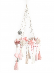 Suspension pompons rose, gris et blanc 22 x 60 cm