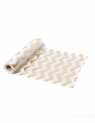 Chemin de table en lin chevrons champagne 5 m