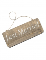 Pancarte en bois Just Married 25 x 10 cm
