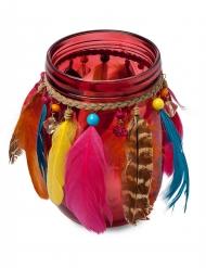 Photophore Gypsy à perles et plumes corail 11 x 12,5 cm