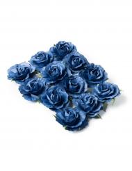 12 Roses à piquer bleu marine 3,5 cm