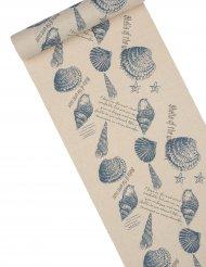Chemin de table en lin coquillages 28 cm x 5 m