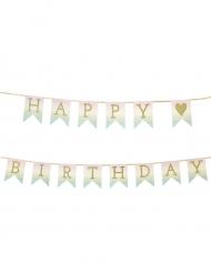 Guirlande en carton Happy Birthday doré pailleté 3 m