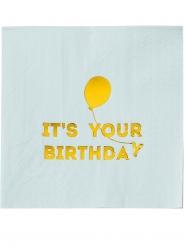 16 Serviettes en papier Happy Birthday bleu et doré 33 x 33 cm