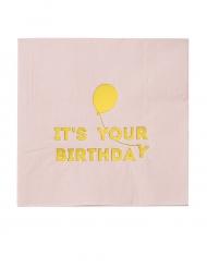 16 Serviettes en papier Happy Birthday rose et doré 33 x 33 cm