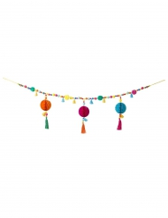 Guirlande à pompons et tassel Boho Mix multicolores 1 m