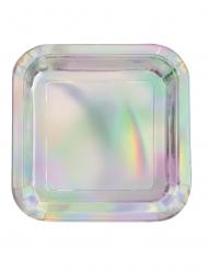 8 Petites assiettes carrées en carton métallisé iridescent 18 cm