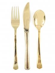 18 Couverts métalliques dorés assortis