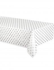 Nappe en plastique blanche à pois gris 137 x 274 cm