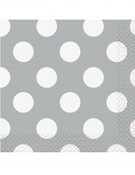 16 Petites serviettes en papier grises à pois blancs 25 x 25 cm