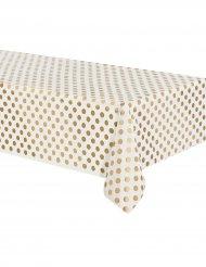 Nappe en plastique blanche à pois dorés 137 x 274 cm