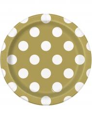 8 Petites assiettes en carton dorées à pois blancs 18 cm