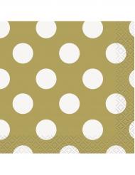 16 Petites serviettes en papier dorées à pois blancs 25 x 25 cm