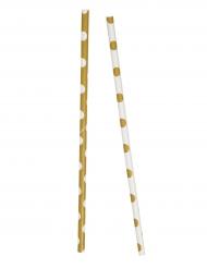 10 Pailles en carton blanches et dorées à pois 21 cm