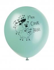 8 Ballons en latex Animaux de la ferme assortis 30 cm