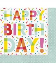 16 Serviettes en papier Happy Birthday Donuts 33 x 33 cm