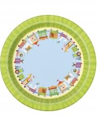 8 Petites assiettes en carton Petit Cirque 18 cm