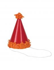 8 Minis chapeaux de fête avec pompons multicolores 10 cm