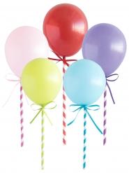 5 Décorations pour gâteau Mini Ballons multicolores 12 cm