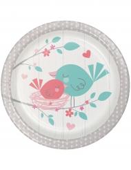 8 Petites assiettes en carton Hello Baby blanches 18 cm