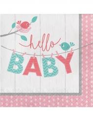 16 Serviettes en papier Hello Baby roses 33 x 33 cm