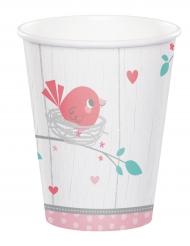 12 Gobelets en carton Hello Baby rose 256 ml
