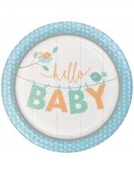 8 Assiettes en carton Hello Baby bleu 23 cm